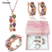 Rose Gold Plated Multicolor Zircon Necklace Earring