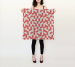 Square Silk Scarf - Red Geometric Pattern - Silk Charmeuse