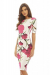 Pink Floral Print Pencil Dress - M / White