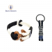 Bran Marion Twisted Dark Blue and White Wood Nautical Bracelet and Keychain - 7.9 inch - 20 cm / Black and White