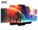 5 Panels Canvas Rainbow Painting Canvas Art No Frame - With Wood Frame