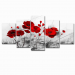 "Red Poppy Flowers Abstract Grey canvas Print - Overall: 80""Wx 40""H"