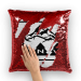 PNW black Sequin Cushion Cover - Red / White with insert