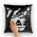 PNW black Sequin Cushion Cover - Black / White with insert