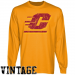 Central Michigan Chippewas Gold Distressed Logo Vintage Long Sleeve T-shirt