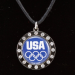 USA Olympic Team Ladies Round Rhinestone Encircled Logo Necklace